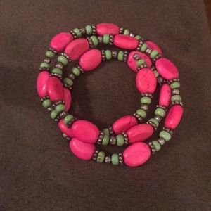 Pink and green beaded wrap bracelet